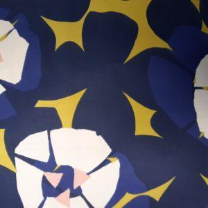 tissu fleurs géométriques