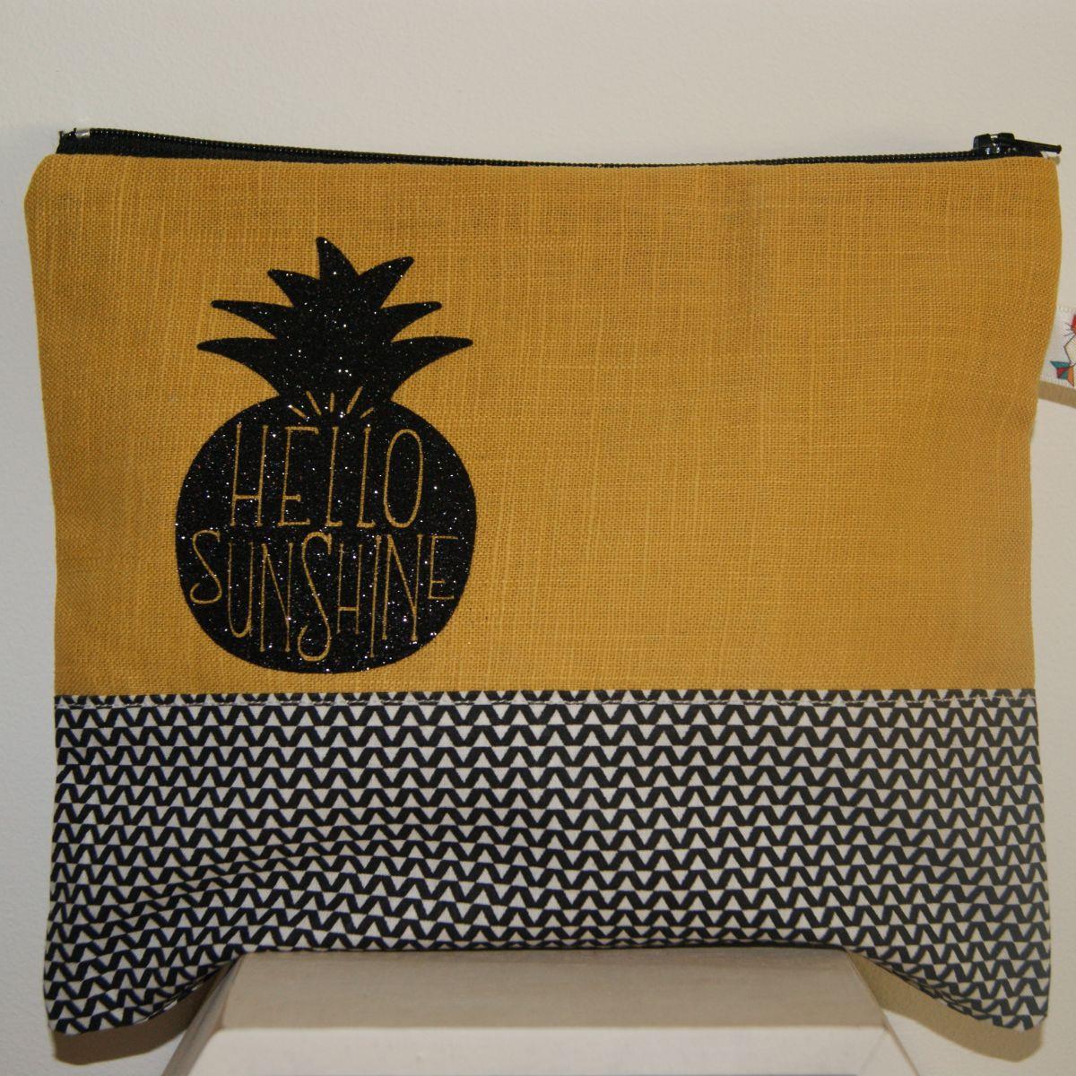 Pochette lin Ananas